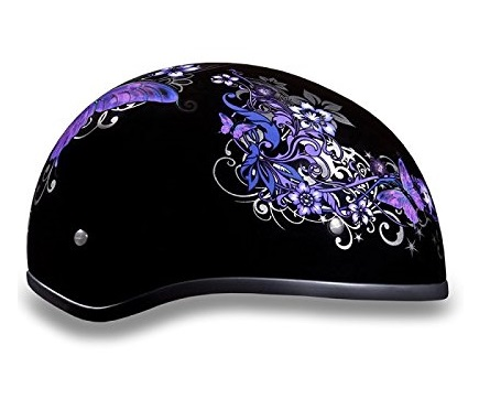 9. Women's DOT Purple Butterfly Motorcycle Half Helmet (Size S, SM, Small)