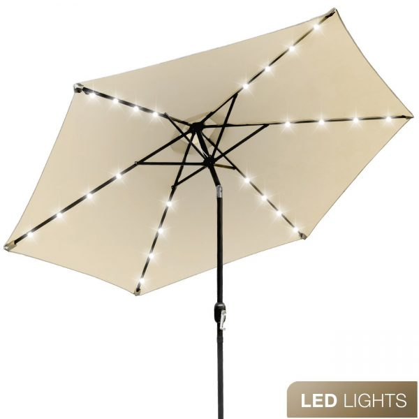 1. Sorbus LED Outdoor Umbrella, 10 ft Patio Umbrella LED Solar Power