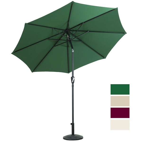 10. Cloud Mountain 9 Ft Patio Umbrella Outdoor Market Umbrella Table Umbrella with Push Button Tilt and Crank Outdoor 8 Steels Ribs 100% Polyester, Green