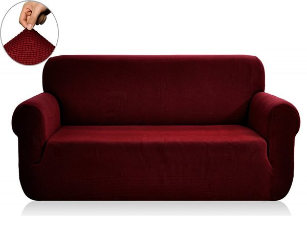 2. Chunyi Jacquard Sofa Covers 1-Piece Polyester Spandex Fabric Slipcovers (Sofa, Wine)