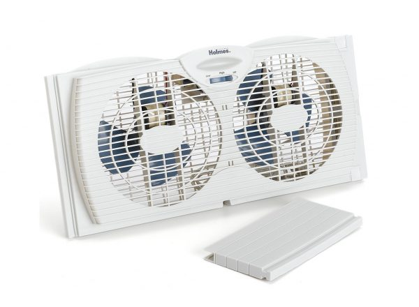 2. Holmes Dual Blade Twin Window Fan, White