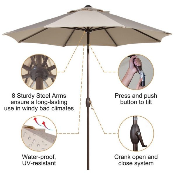 2. Patio Umbrella Outdoor Table Market Umbrella with Push Button Tilt and Crank