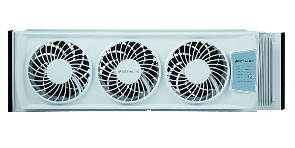 3. Bionaire Thin Window Fan with Electronic Thermostat