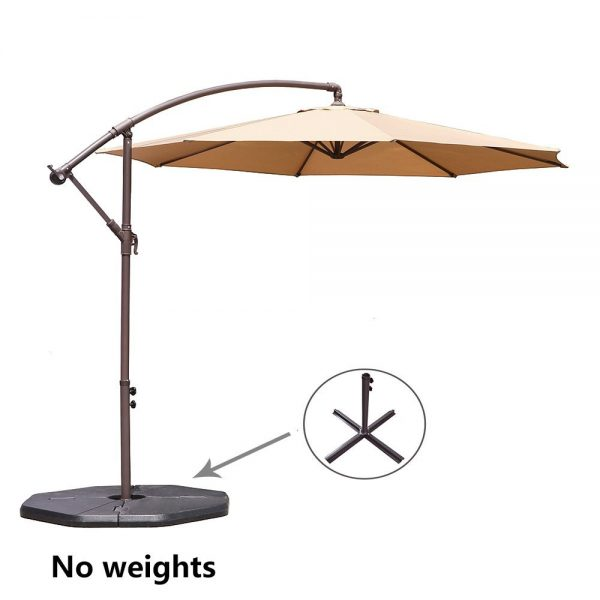 3. Le Papillon 10-ft Offset Hanging Patio Umbrella Aluminum Outdoor Cantilever Umbrella Crank Lift