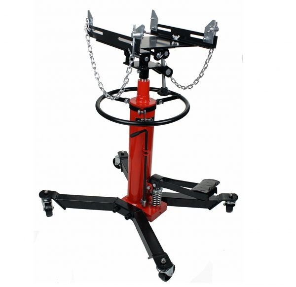 4. Dragway Tools 1000 LB 2 Stage Hydraulic Transmission Jack Lift Hoist with Foot Pump