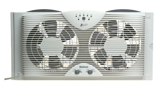 4. Holmes HAWF2043 Dual Blade Twin Window fan with One Touch Thermostat