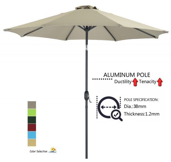 4. Patio Watcher 9-Ft Aluminum Patio Umbrella with Push Button Tilt and Crank