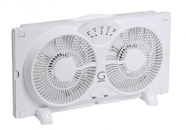 5. Genesis Twin Window Fan with 9 Inch Blades, High Velocity Reversible AirFlow Fan, LED Indicator Lights Adjustable Thermostat & Max Cool Technology, ETL Certified