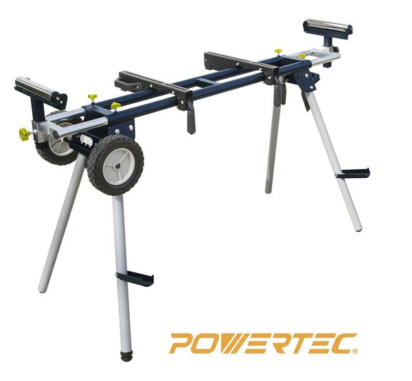 5. POWERTEC MT4000 Deluxe Miter Saw Stand with Wheels and 110V Power Outlet