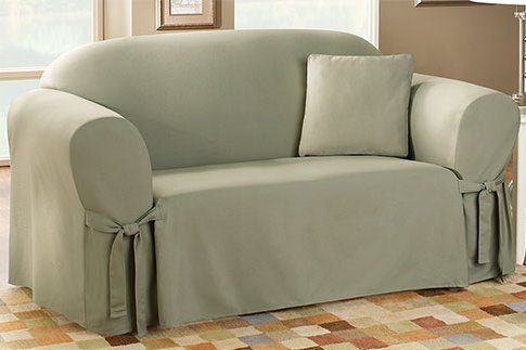 7. Sure Fit Cotton Duck - Sofa Slipcover - Sage (SF33052)