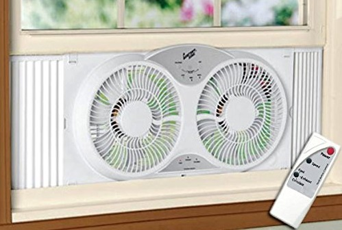 8. Portable Twin 9 Reversible Window Fan with Remote Control