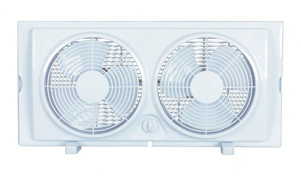 9. Cool Works F-5280A 7 2-Speed Plastic Twin Window Fan 2, White