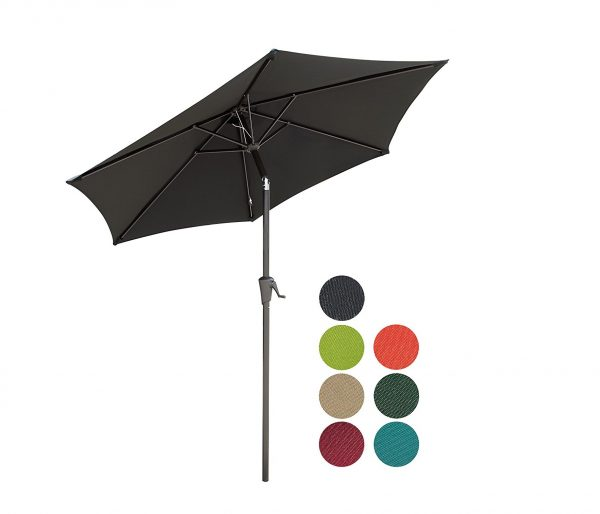 9. PATIOROMA 7.5 Feet Outdoor Patio Umbrella with Push-button Tilt and Crank, 6 Ribs, Polyester Canopy, Black