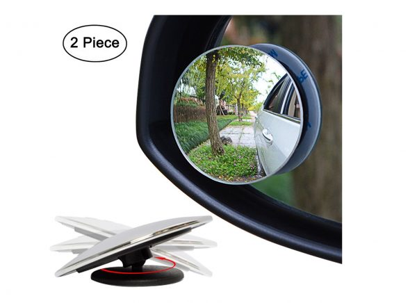 1. Ampper Blind Spot Mirror, Round HD Glass Frameless Convex Rear View Mirror, Pack of 2