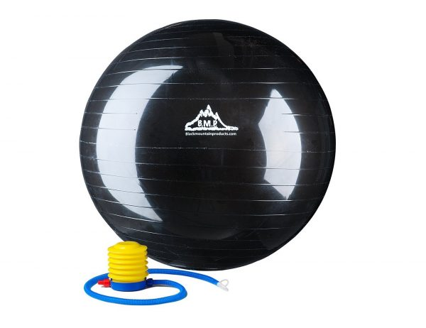 1. Black Mountain Products 2000lbs Static Strength Exercise Stability Ball with Pump