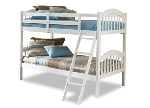 1. Storkcraft Long Horn Solid Hardwood Twin Bunk Bed, White