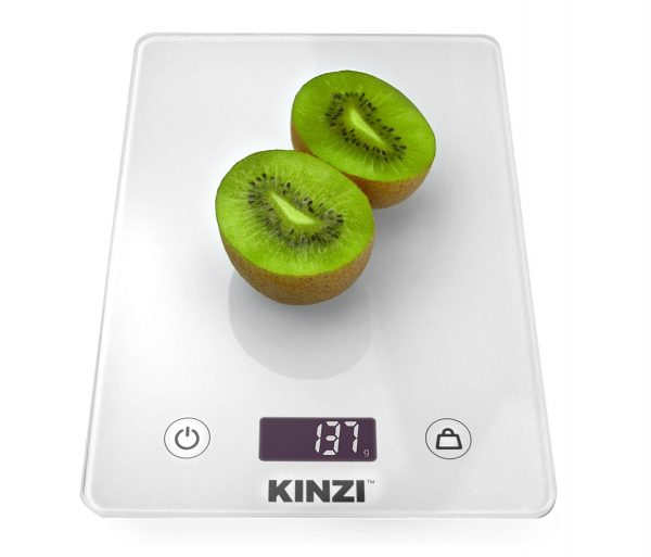 10. Kinzi Digital Touch Kitchen Scale (12 lbs Edition), Tempered Glass in Clean White