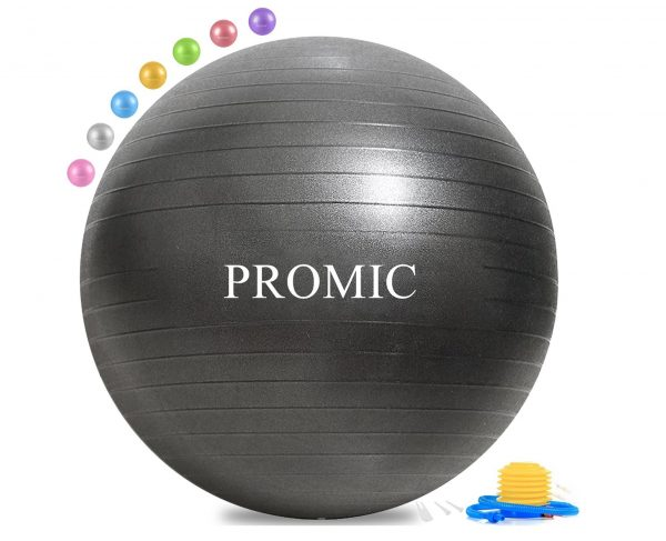 10. PROMIC Exercise Ball (45-85cm) with Quick Foot Pump