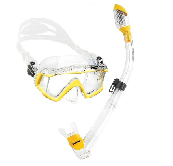 2. Cressi Panoramic Wide View Mask Dry Snorkel Set