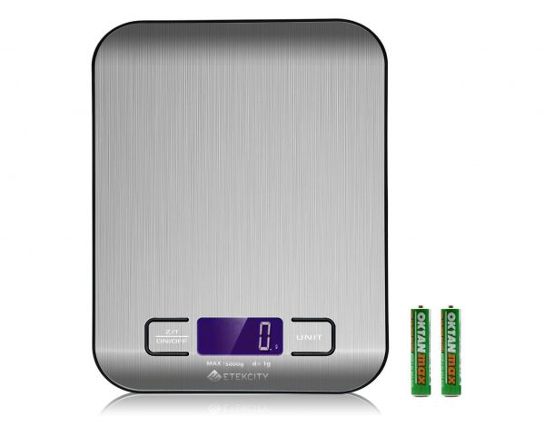 2. Etekcity Digital Kitchen Scale Multifunction Food Scale, 11 lb 5 kg, Silver, Stainless Steel (Batteries Included)