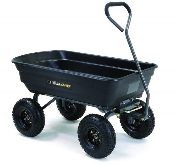 2. Gorilla Carts GOR4PS Poly Garden Dump Cart with Steel Frame and 10-in. Pneumatic Tires, 600-Pound Capacity, Black