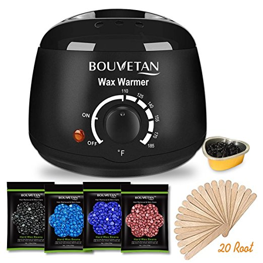 2. Wax Warmer - Bouvetan Waxing Hair Removal Kit with 4 Hard Wax Beans and 20 Wax Applicator Sticks