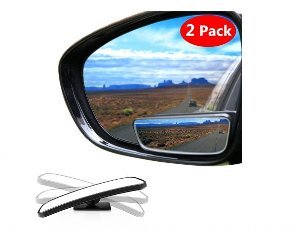 3. Blind Spot Mirror Square LIBERRWAY Wide Angle Mirror Adjustable Convex Rear View Mirror