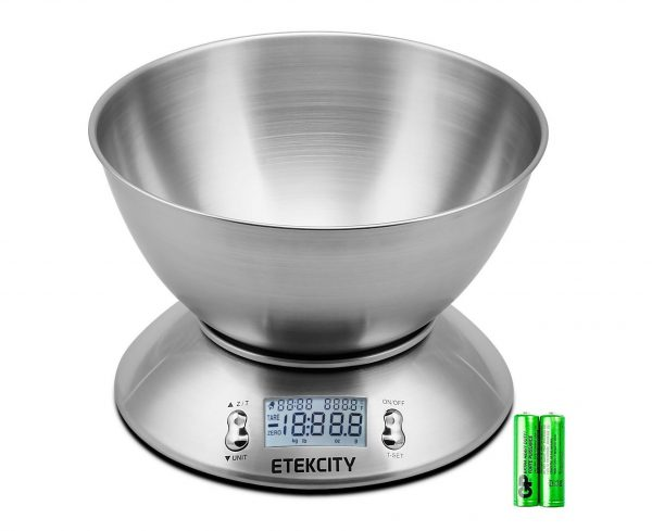 3. Etekcity Digital Kitchen Scale Multifunction Food Scale with Removable Bowl 2.15L Liquid Volume Room Temperature and Timer, 11lb 5kg, Backlight LCD Display
