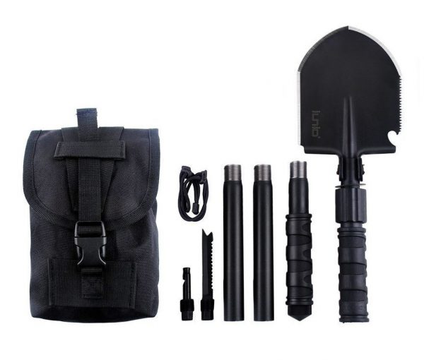 3. Iunio Military Portable Folding Shovel and Pickax with Tactical Waist Pack Army Surplus Multitool for Camping