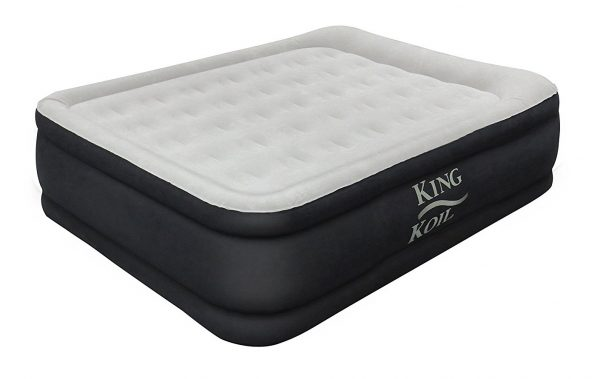 5. King Koil QUEEN SIZE Luxury Raised Air Mattress - Best Inflatable Airbed with Built-in Pump - Elevated Raised Air Mattress Quilt Top & 1-year GUARANTEE