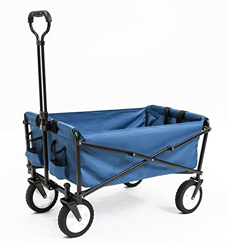 5. Seina Collapsible Folding Utility Wagon Garden Cart Shopping Beach Outdoors, Blue