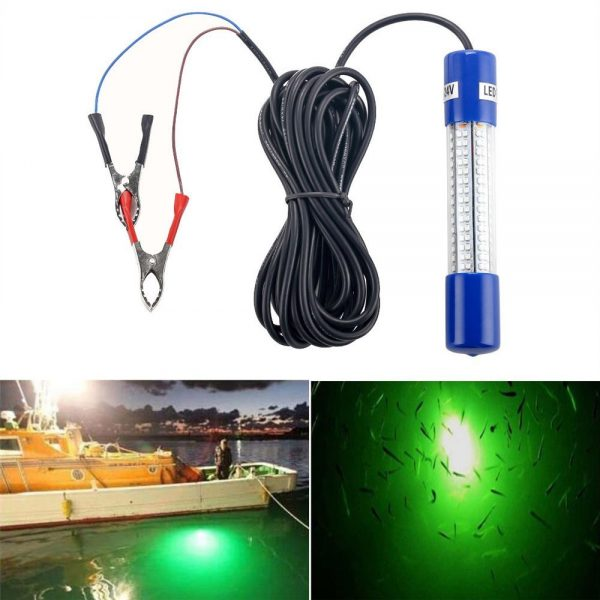 5. Underwater Night Fishing Light Green Submersible LED Lamp Bait Squid Fish Attracting Snook Light Dock Boat Light 12-24V 20ft Cord