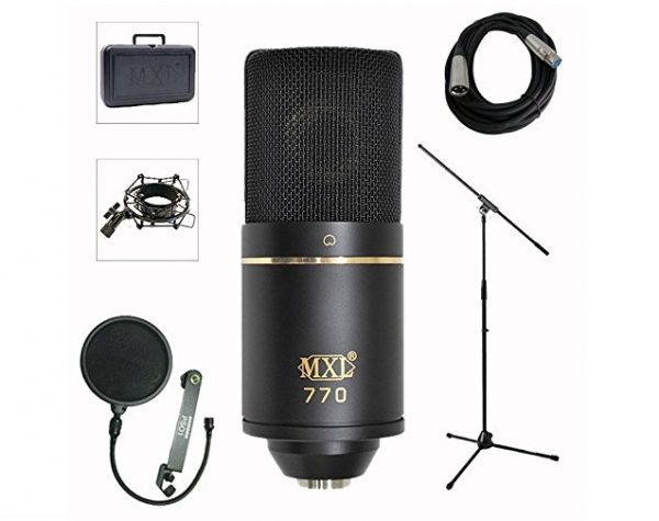 6. MXL 770 Professional Studio Condenser Mic + Mic Stand + Pop Filter + XLR Cable Bundle