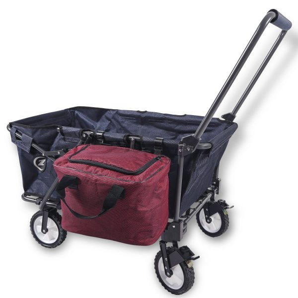 6. REDCAMP Collapsible Wagon Cart,Folding Utility Wagon All Terrain Outdoor Beach Sports (Navy Blue+Bag)