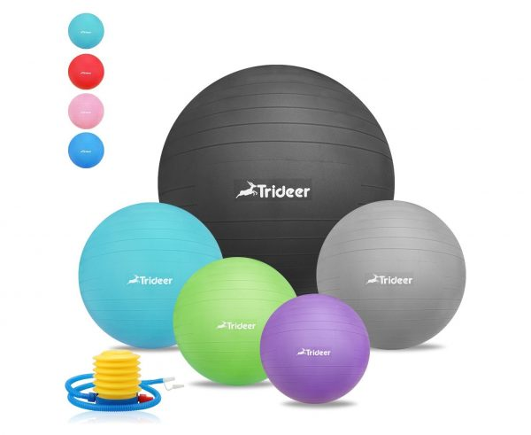 6. Trideer Exercise Ball (45-85cm) EXTRA THICK Yoga Ball Chair, Anti-Burst Heavy Duty Stability Ball Supports 2200lbs, Birthing Ball with Quick Pump (Office & Home & Gym)