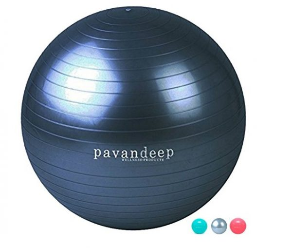 7. Exercise Ball By Pavandeep 2000lbs Anti Burst Stability Balls for Fitness Pilates Yoga Gym, Use As Desk Chair, Pump Included, Phthalate Free