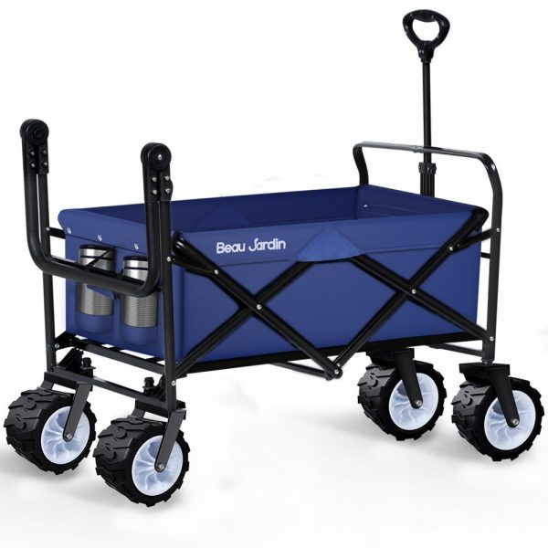 7. Folding Wagon Cart Collapsible Utility Camping Grocery Canvas Fabric Sturdy Portable Rolling Lightweight Beach Sand