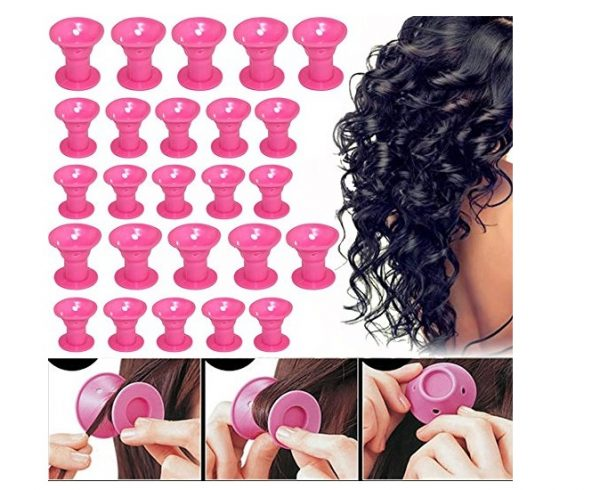 7. Hair Rollers Silicon Curlers Hair Style Rollers Soft Magic DIY sleep Hair Style Tools with 4 pces Nat Cap set