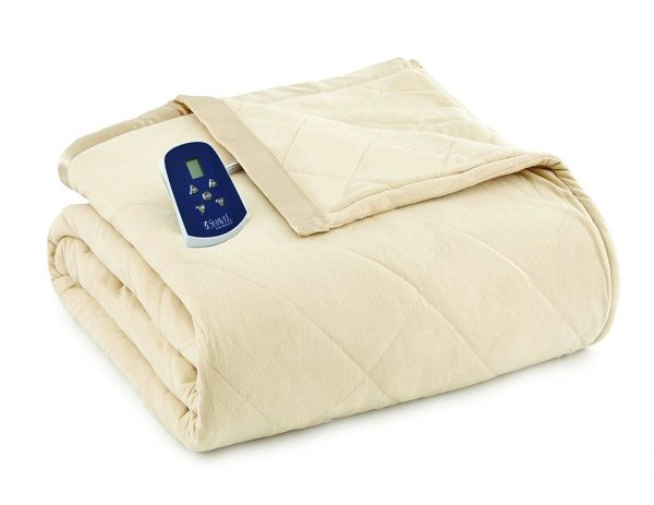 7. Shavel Home Products Thermee Electric Blanket, Khaki, Full