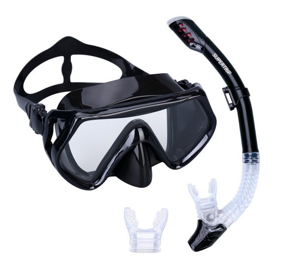 7. Supertrip Scuba Snorkel Set for Adults,Diving Snorkeling Freediving Mask Snorkel with 2 Mouth Piece & Bag