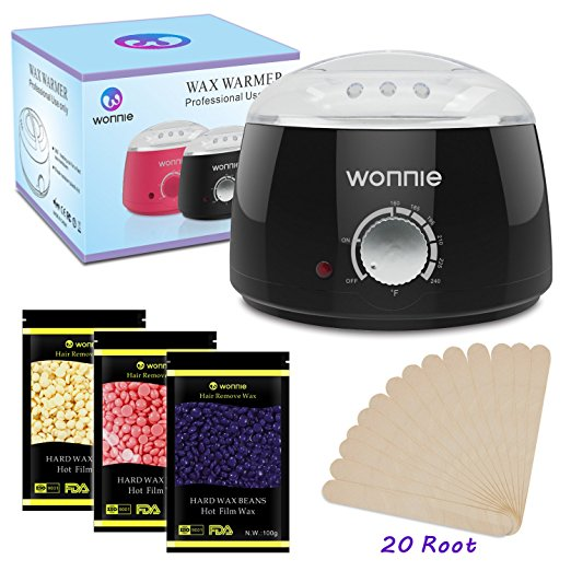 7. WONNIE Wax Warmer Hair Removal Home Waxing Kit Electric Pot Heater for Rapid Waxing of All Body