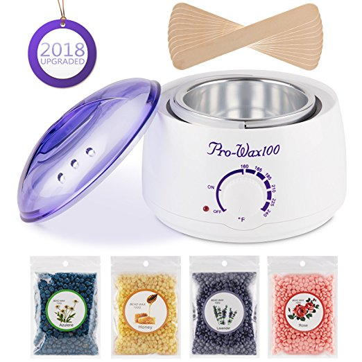 8. Wax Warmer Hair Removal Kit Electric Wax Melter Hot Wax Warmer Brazilian Wax Kit with 4 Different Flavors Wax Beans and 10 Wax Applicator Sticks