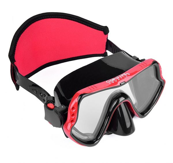 9. Coastal Aquatics Adult Snorkel Mask - Diving Mask - Scuba Mask - Anti-Fog Lens - Tempered Glass - Neoprene Strap Cover