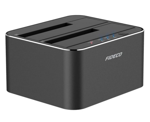9. Hard Drive Docking Station, FIDECO Aluminum USB 3.0 to SATA Dual Bay Dock with Offline Clone Function