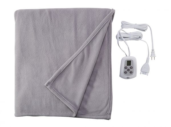 9. Serta 856757 Heated Electric Fleece Blanket with Programmable Digital Controller In Gray, Full