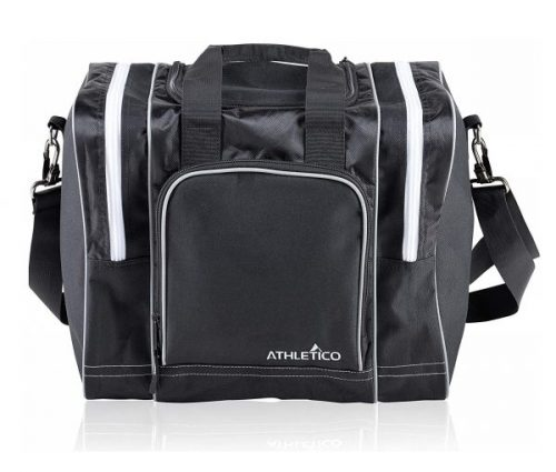 3. Athletico Bowling Bag for Single Ball - Single Ball Tote Bag with Padded Ball Holder - Fits a Single Pair of Bowling Shoes Up to Mens Size 14