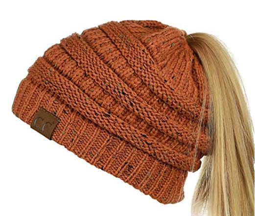 1. C.C BeanieTail Soft Stretch Cable Knit Messy High Bun Ponytail Beanie Hat