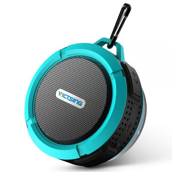 1. VicTsing Shower Speaker, Wireless Waterproof Speaker with 5W Driver, Suction Cup, Built-in Mic, Hands-Free Speakerphone-Blue
