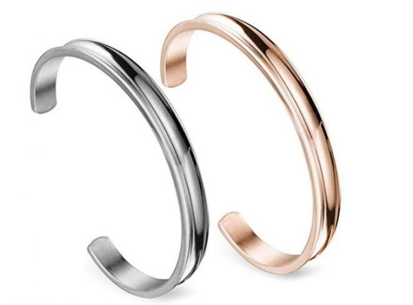1. Zuo Bao Stainless Steel Bracelet Grooved Cuff Bangle for Women Girls