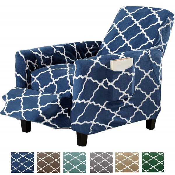 10. Great Bay Home Modern Velvet Plush Strapless Slipcover. Form Fit Stretch, Stylish Furniture